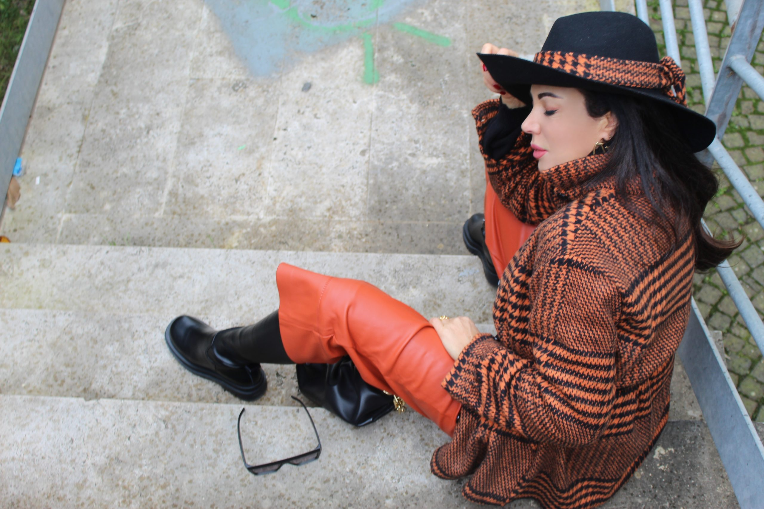 Orange Shacket Bottega Veneta OOTD