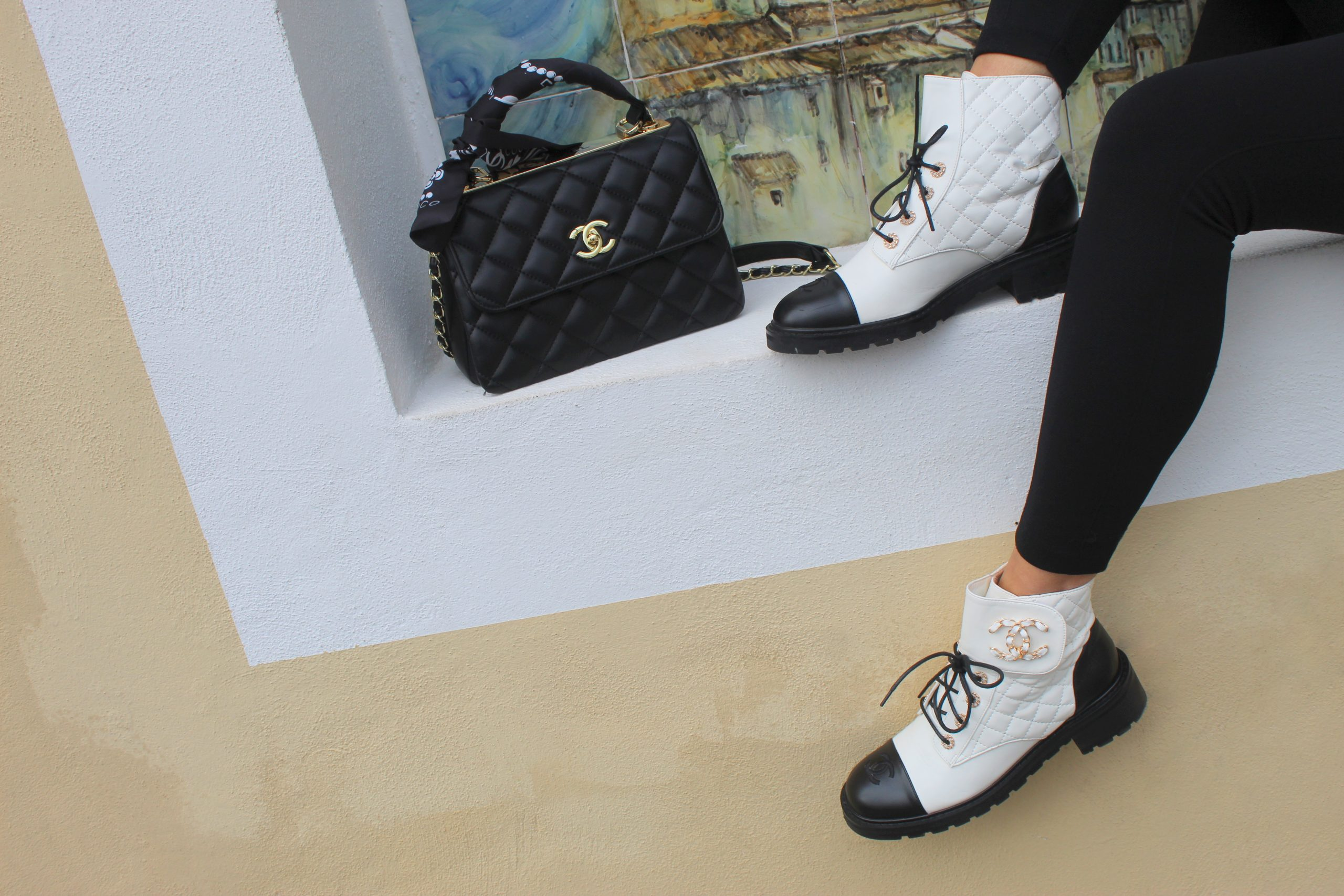 black white outfit accessories chanel bag shoes