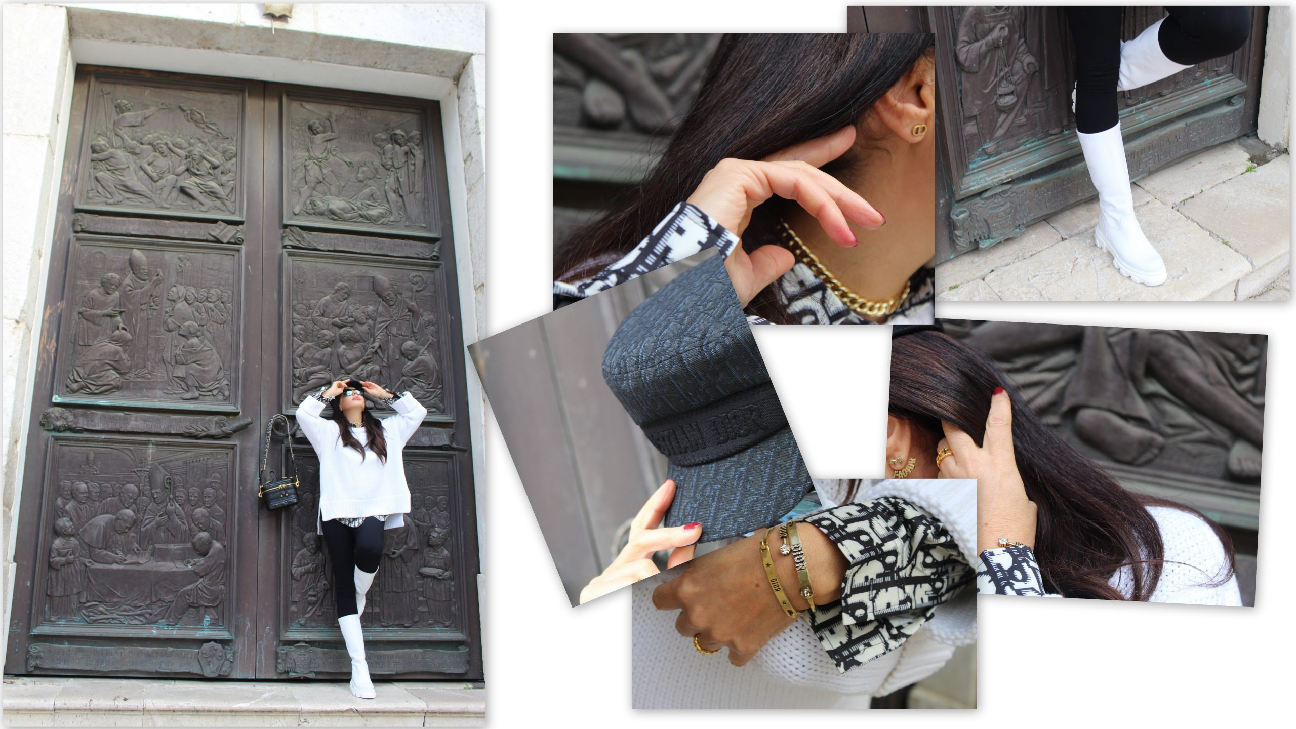 outfit white chuncky boots dior details paola lauretano