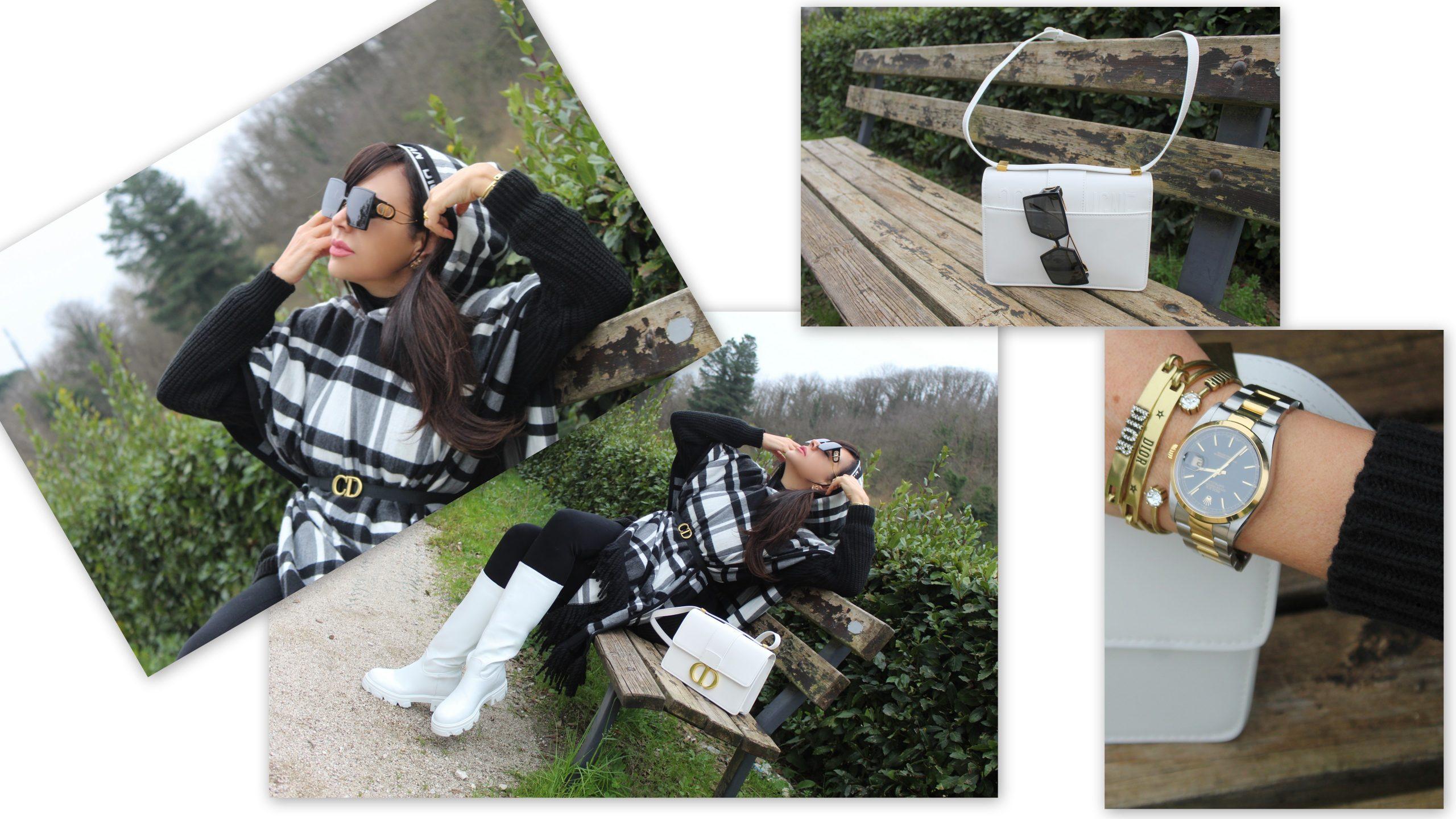 checked black and white cape winter look Dior accessories Paola Lauretano