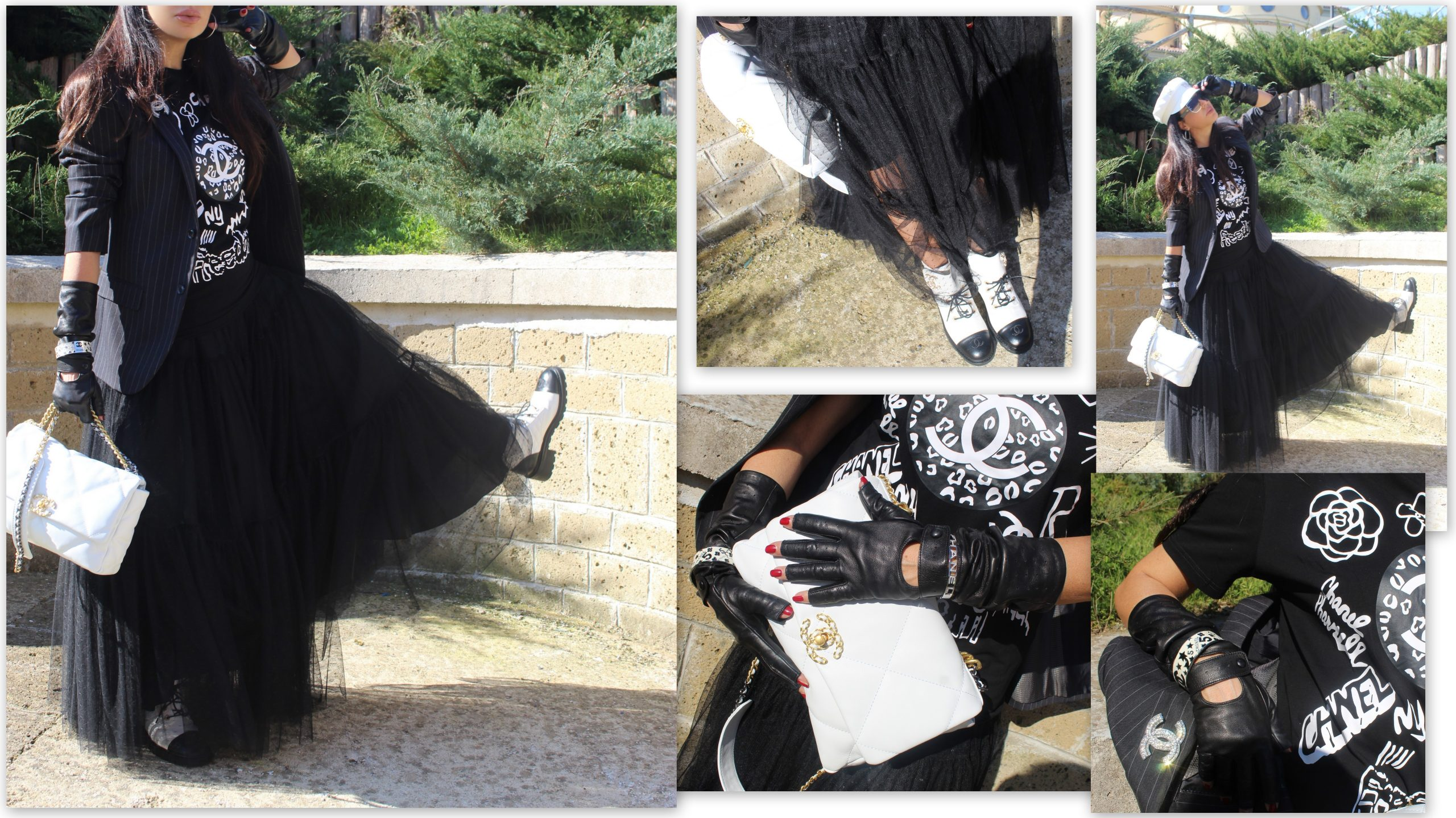 tulle maxi skirt outfit ideas Dolce & Gabbana blazer Dior accessorier