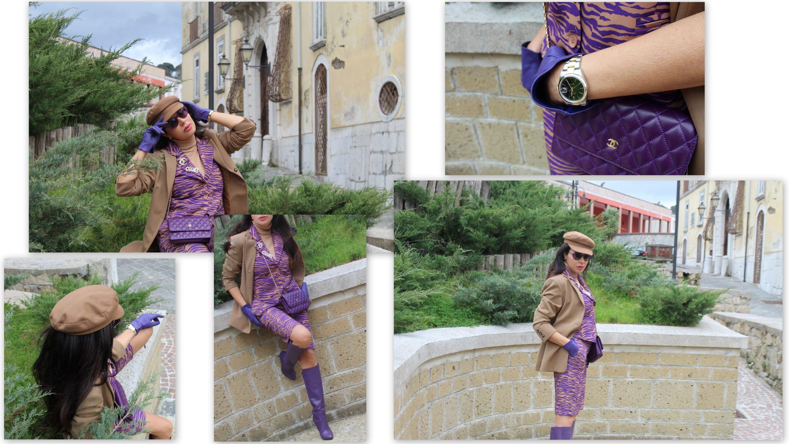 bermuda pants purple power spring look Chanel glam Paola Lauretano