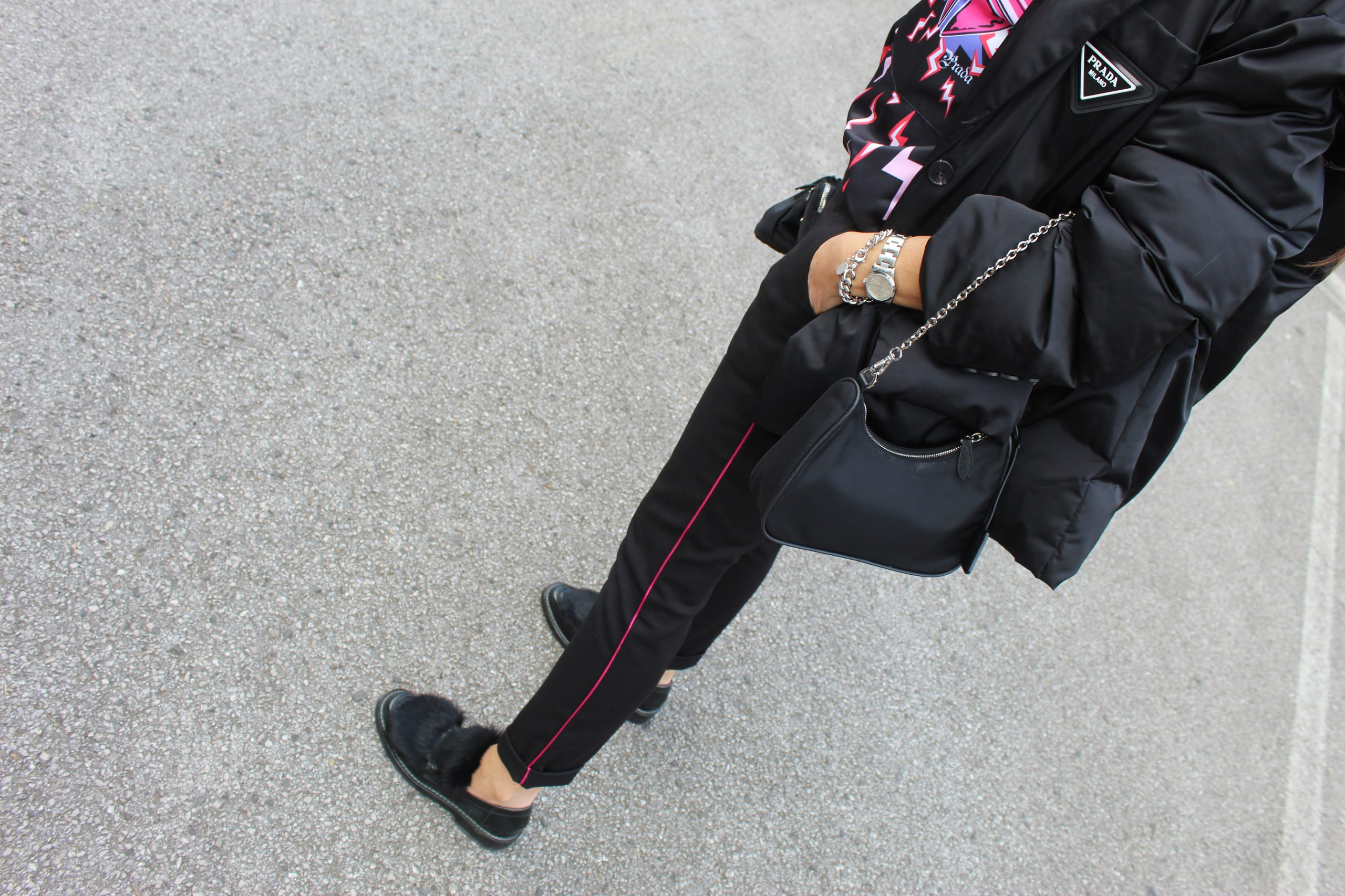Prada accessories loafers spring time total look Paola Lauretano