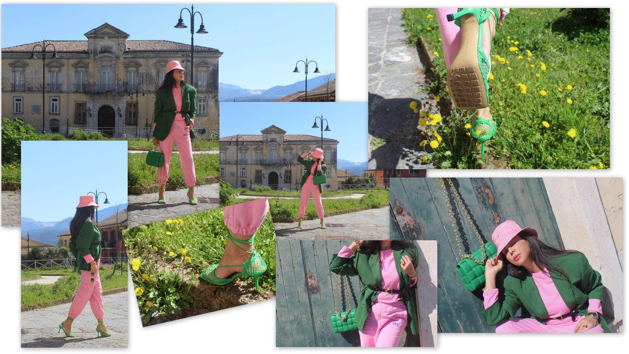 Baby pink and dark green color block spring Prada Shoes Bottega Veneta Bag Paola Lauretano