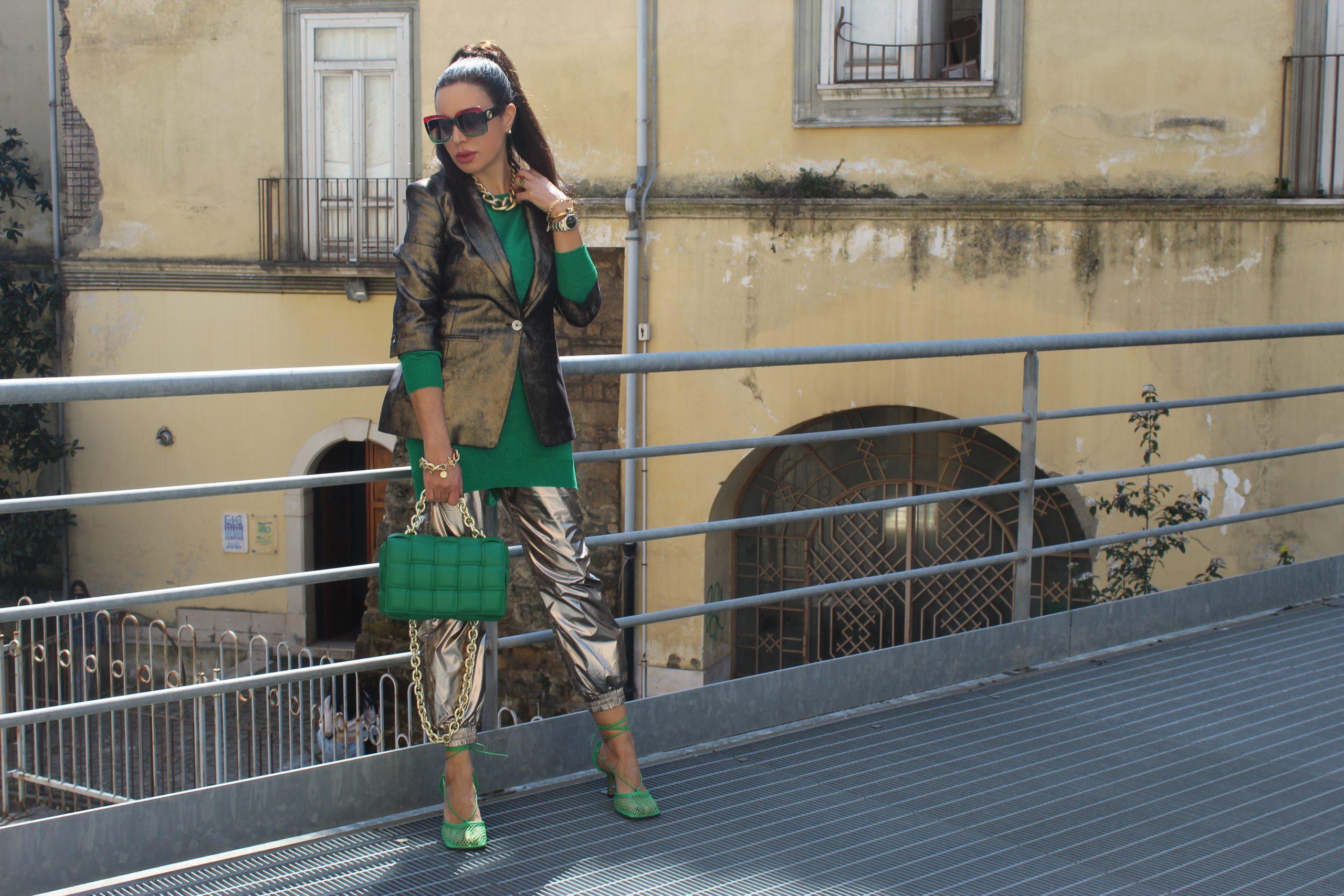 Metallic Trend Bottega Veneta Accessories Gold and Green Outfit Paola Lauretano