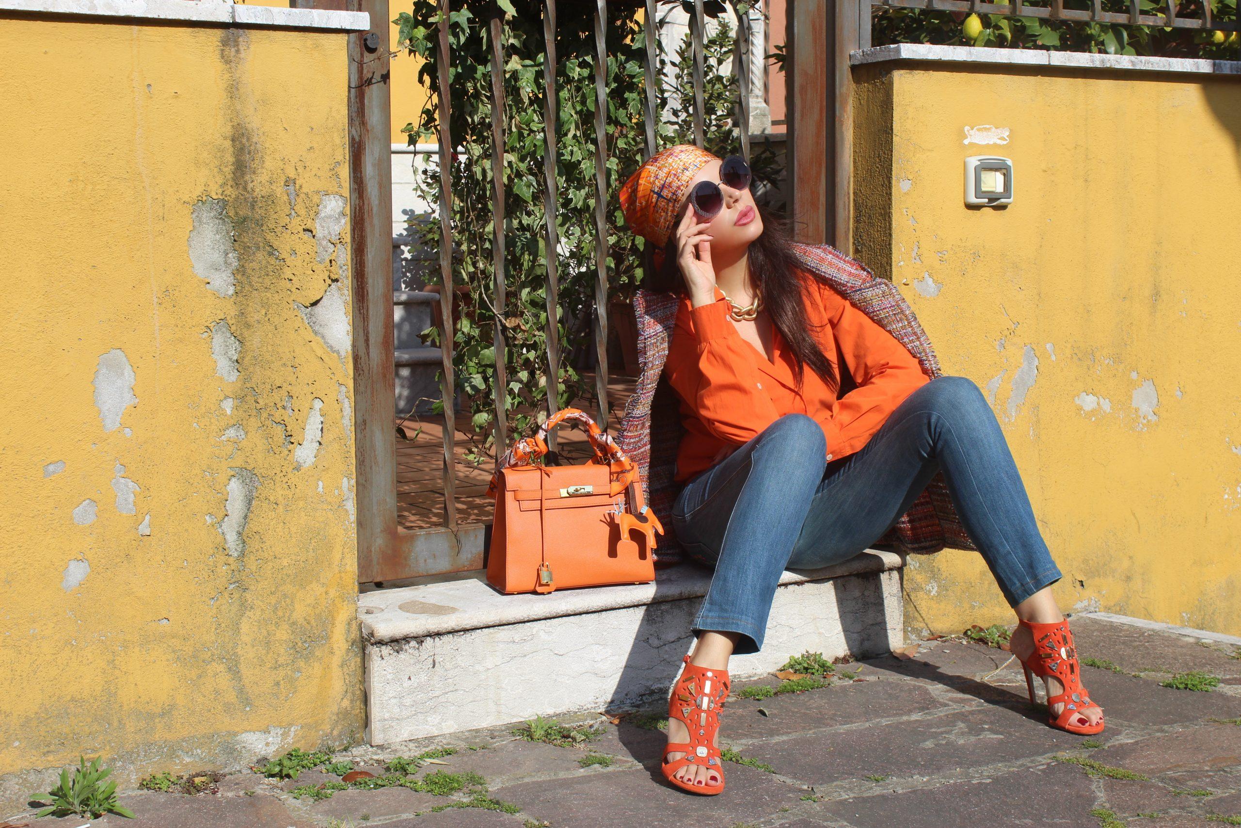 Bright Orange Spring Boho Look Hermes Bag Dolce & Gabbana Outfit