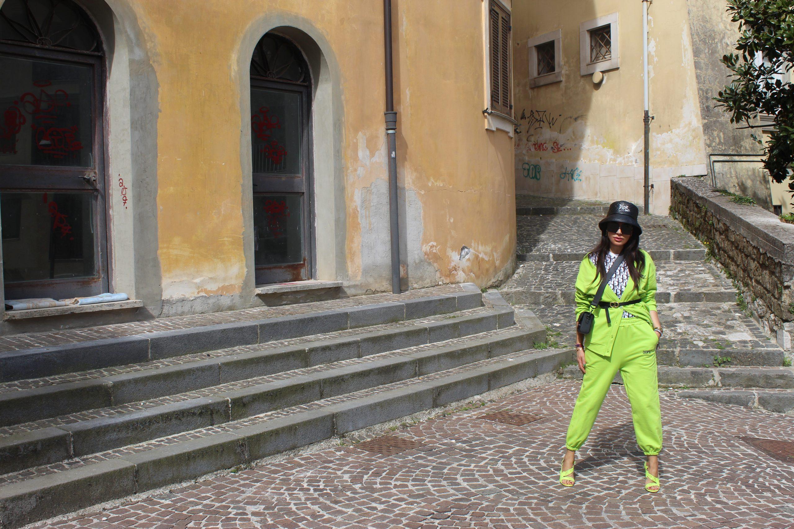 Neon Color Outfit Spring trend 2021 Dior bag Dior shoes Paola Lauretano