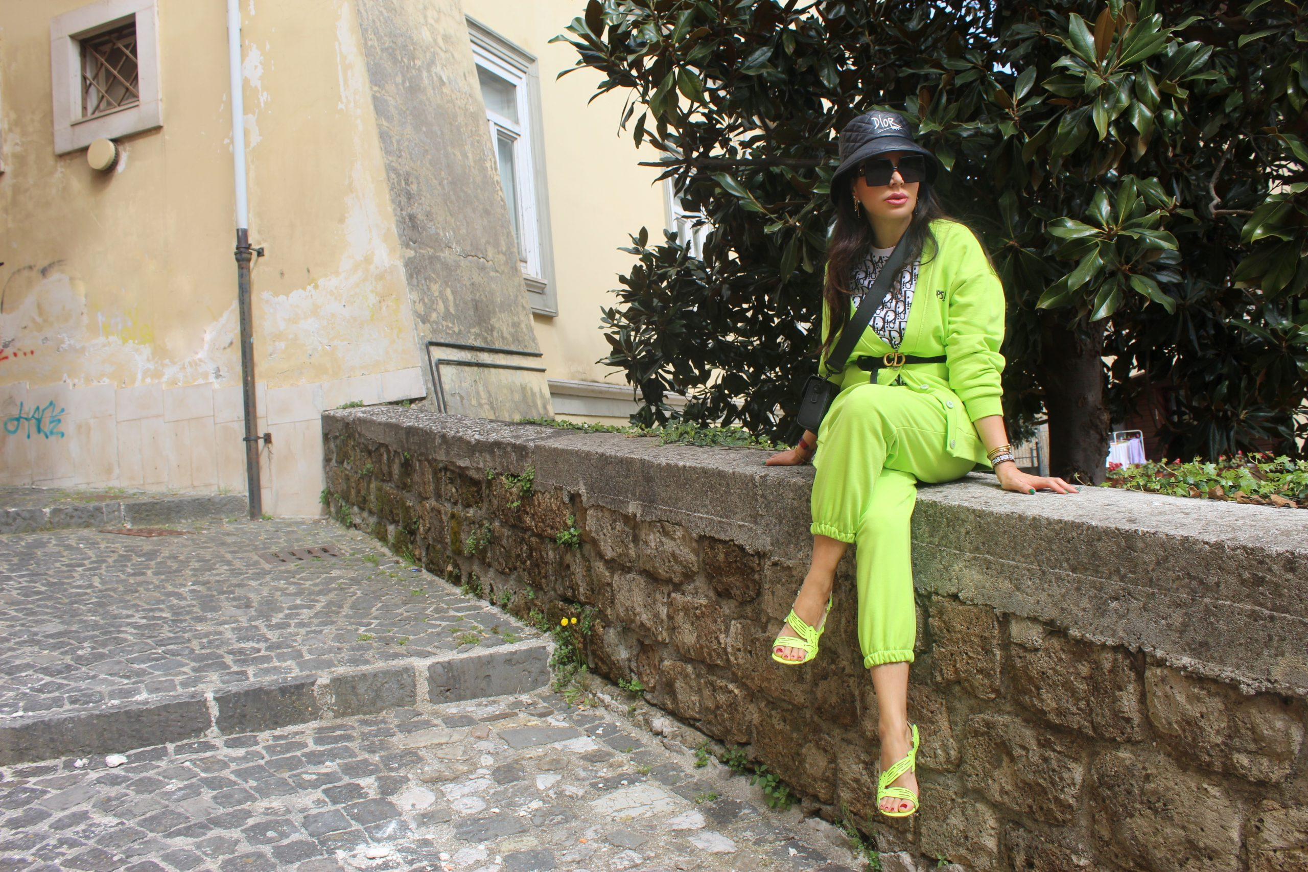 Neon Color Outfit Spring trend 2021 Dior bag Dior shoes Paola Lauretano