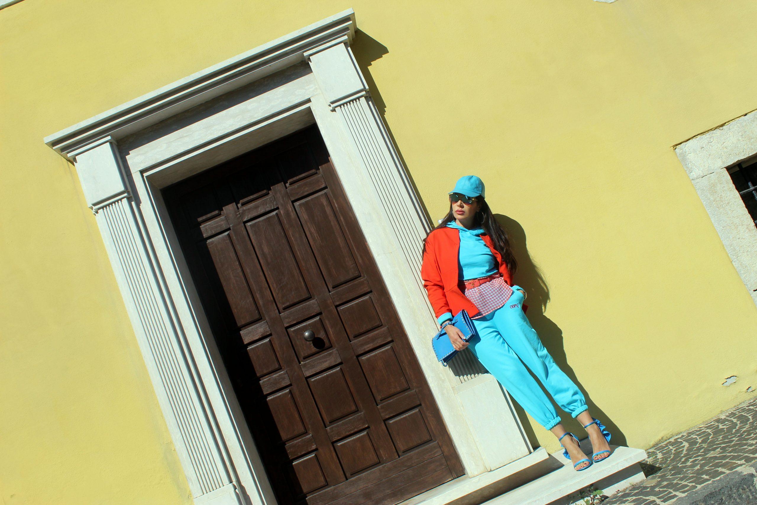Prada Vivid Colour Outfit Turquoise and Orange Spring Trend 2021