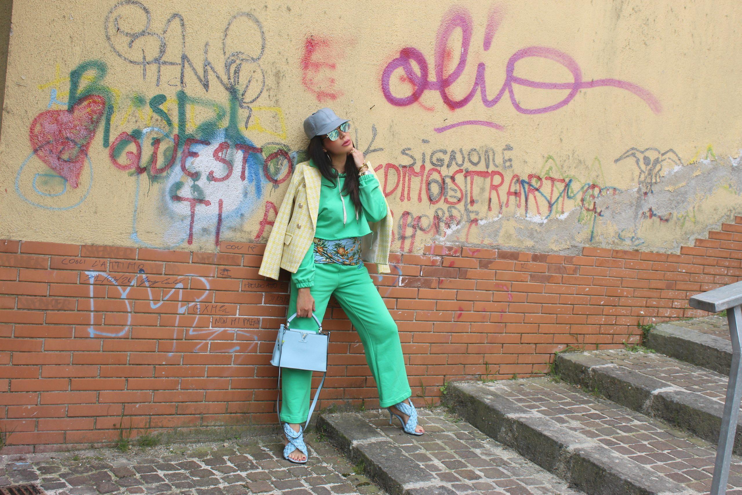 pastel colours comfy jumpsuit trend Bottega Veneta Bag Louis Vuitton Accessories Paola Lauretano