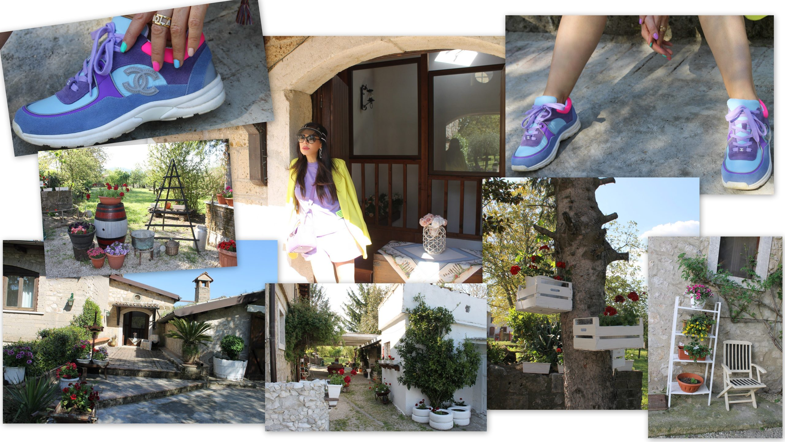 sporty comfy outfit lilac and yellow look chenel sneakers Paola Lauretano