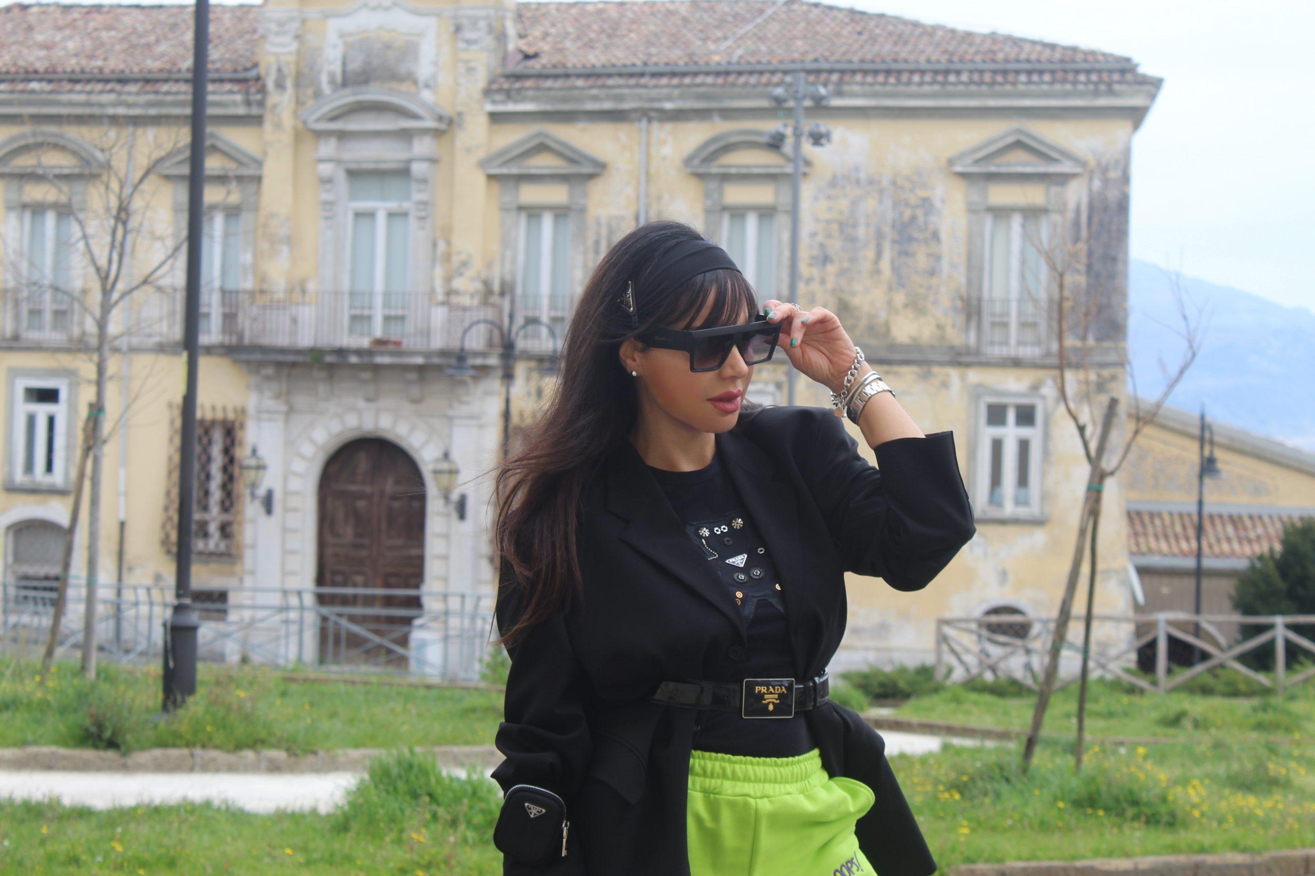 joggers and zara blazer trend acid lime green Prada accessories Paola Lauretano