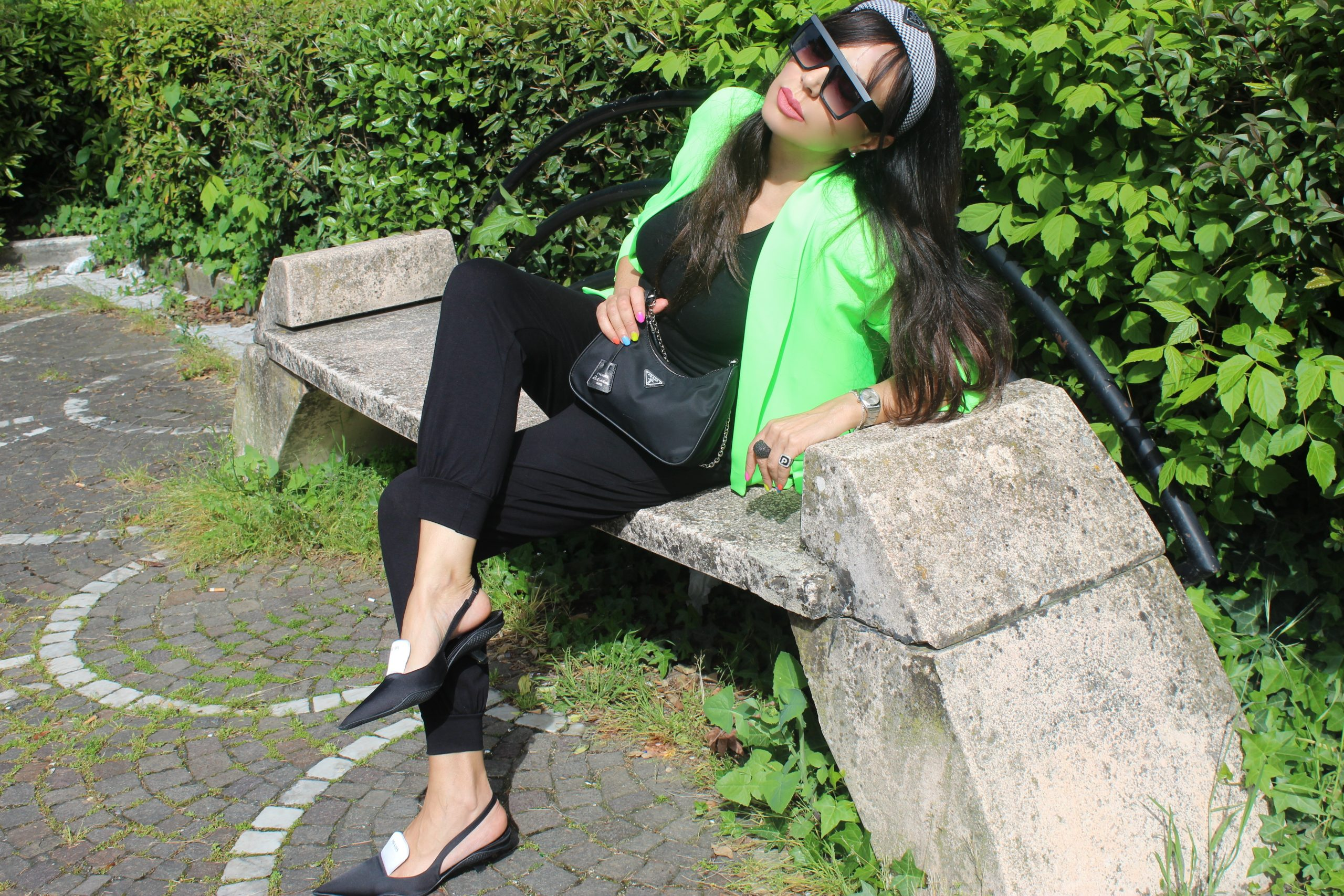 Green and Black Spring Trend Outfit Ideas Prada Shoes Paola Lauretano