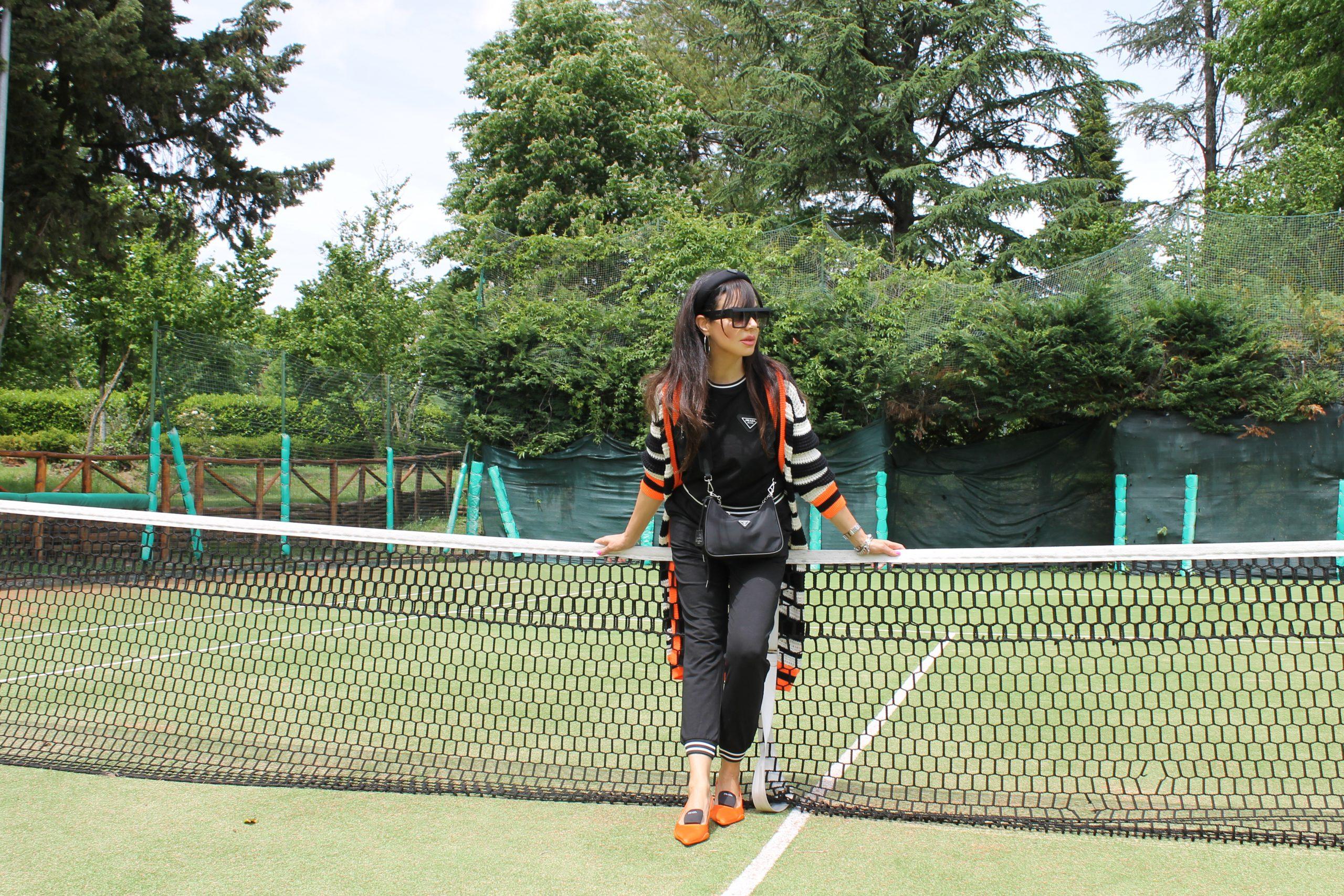 striped pattern black and orange trend Prada look