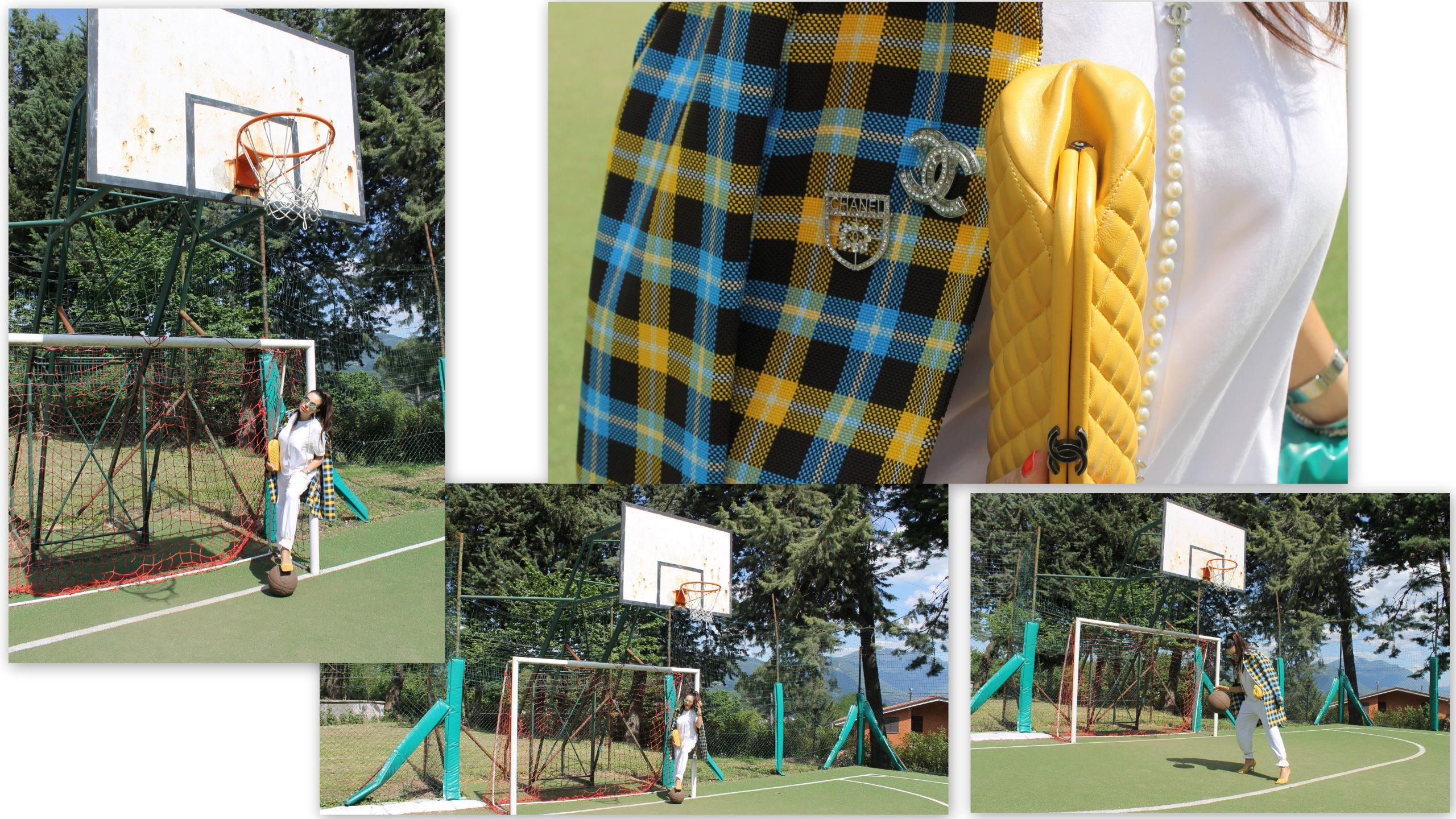 checked yellow summer outfit chanel bottega veneta look