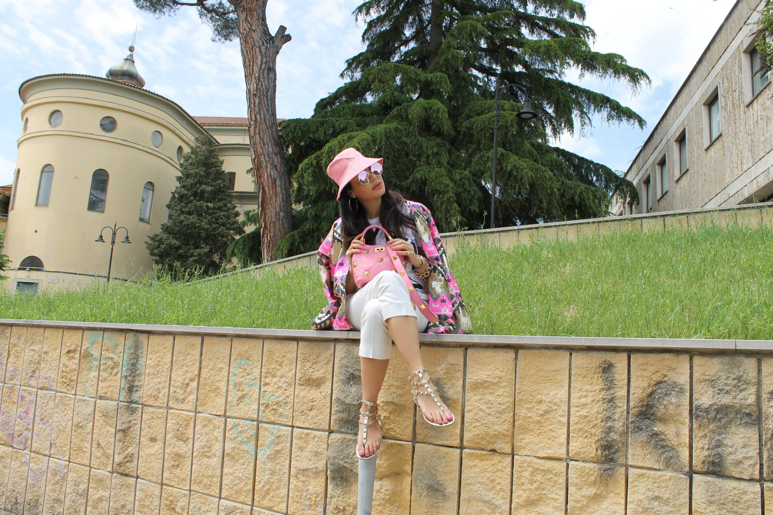 Pink Outfit Prada Valentino Look Paola Lauretano Summer