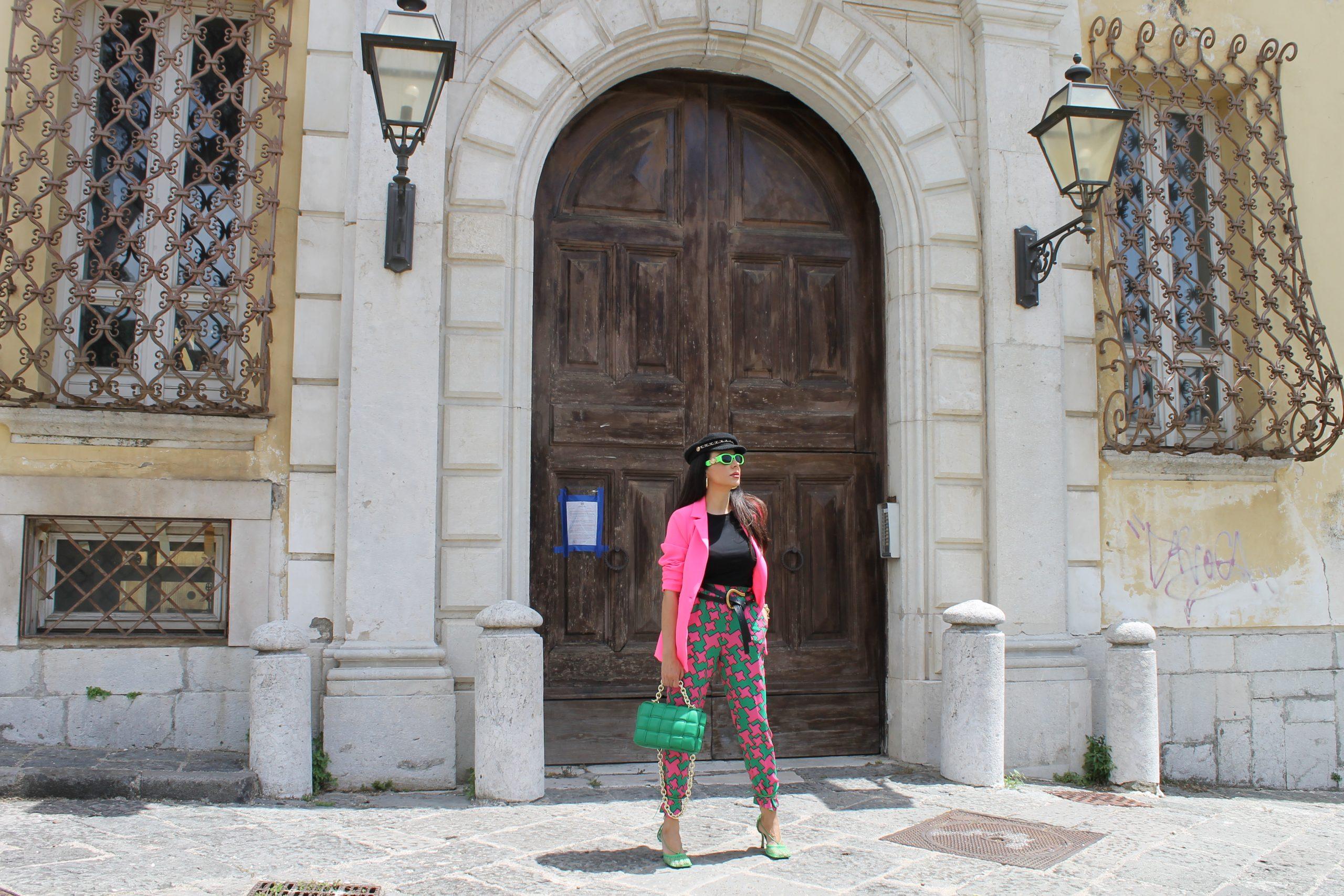 Pink Green Bottega Veneta Versace Summer Colorful Look Paola Lauretano