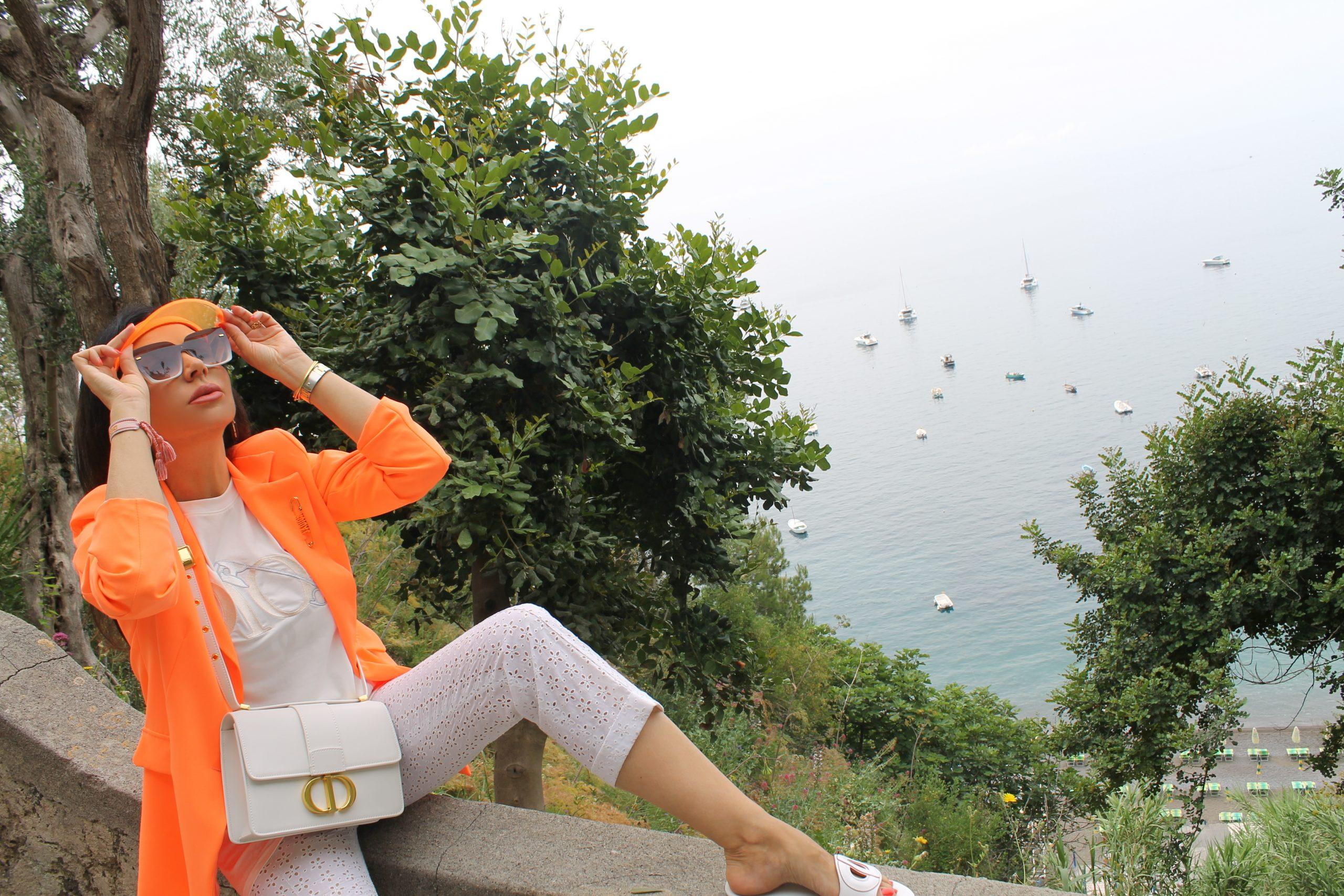 Positano Amalfi Coast Vacation Italian Holiday Inspo Aesthetic Dior Orange and White Paola Lauretano