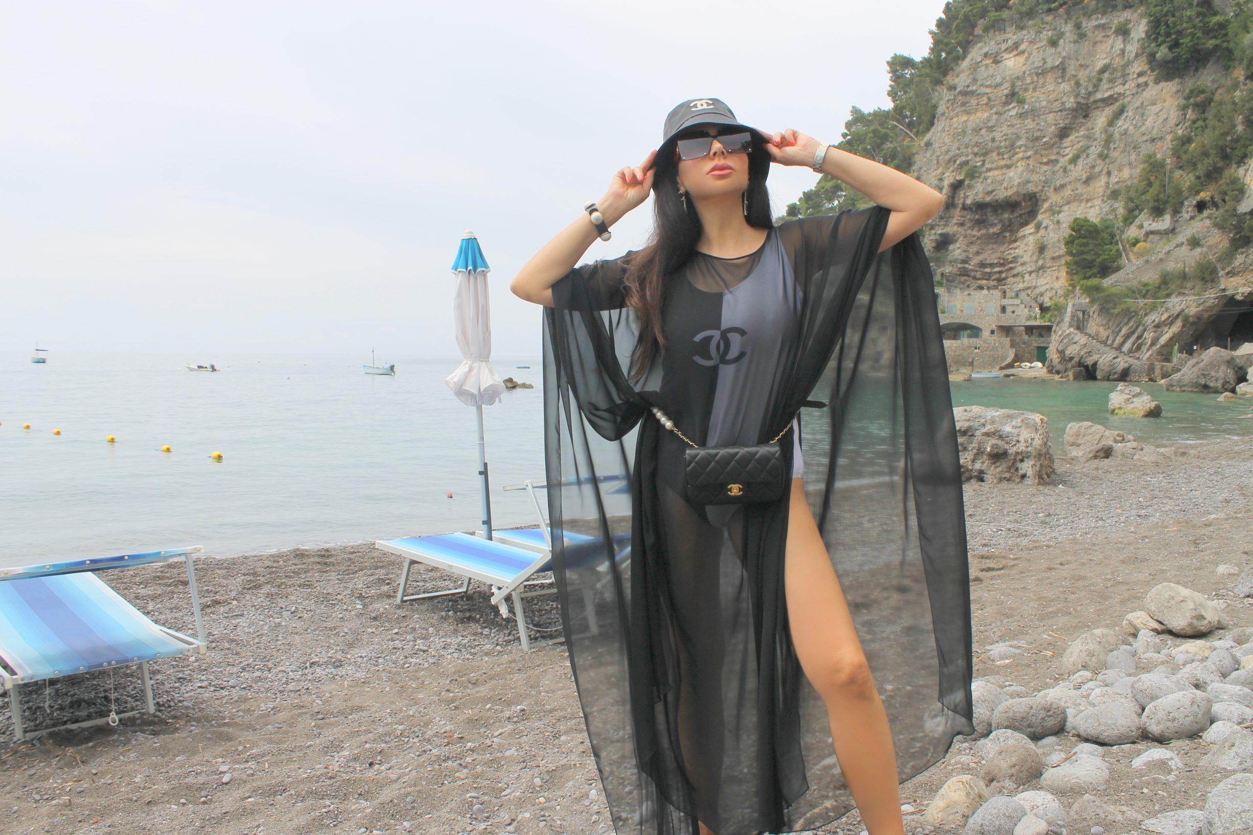 Positano Amalfi Coast Vacation Italian Holiday Inspo Aesthetic Chanel Total Look Black and White Paola Lauretano