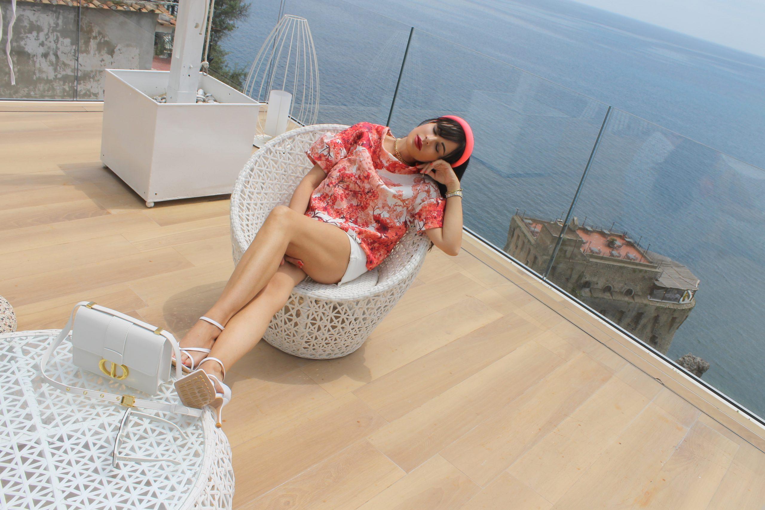 Amalfi Coast Dreamy Staycation Aesthetic Pink and White Dior and Bottega Veneta Look Paola Lauretano