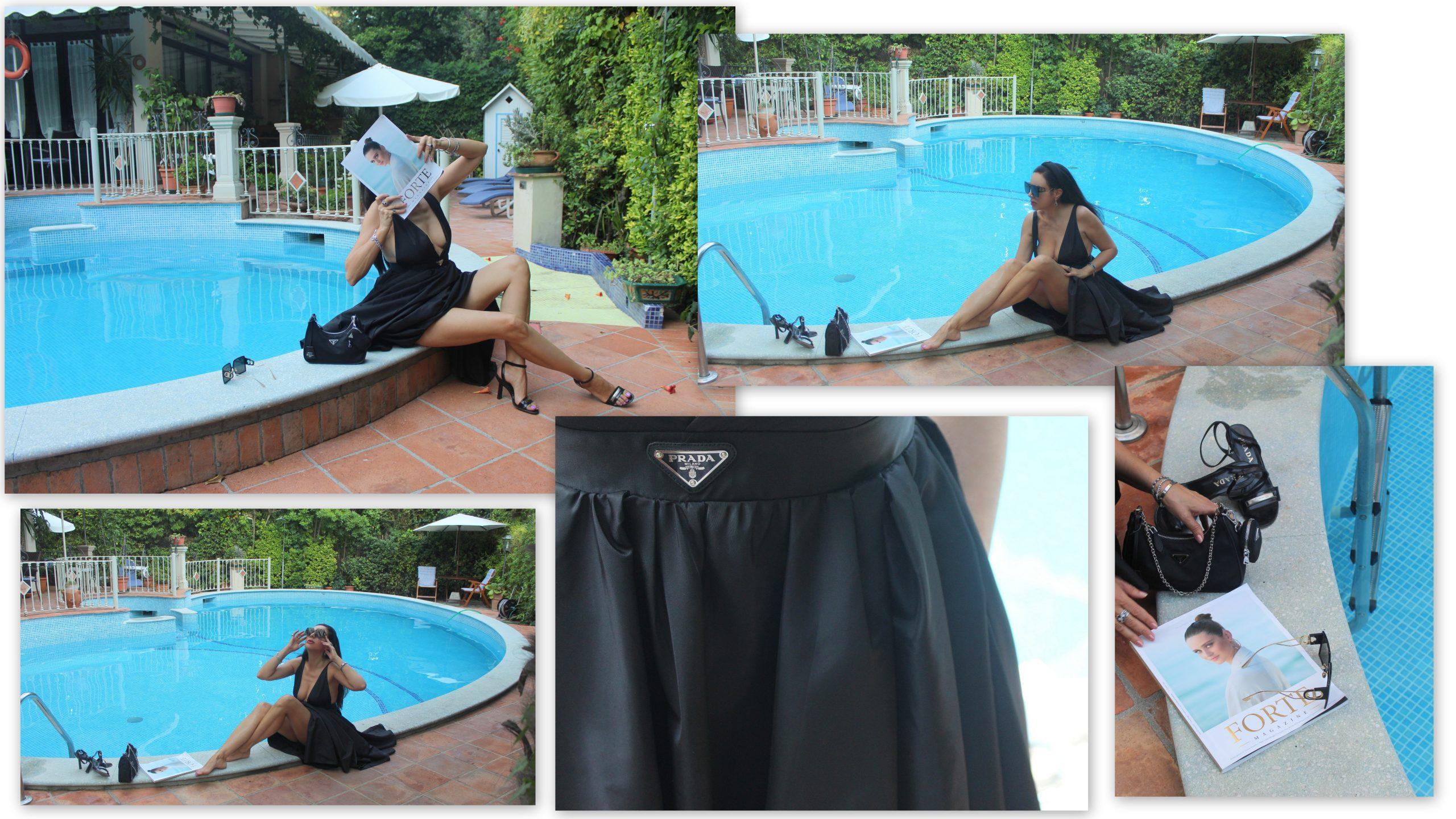 Forte dei Marmi Italian Summer Staycation Prada Glam Total Look Little Black Dress Paola Lauretan