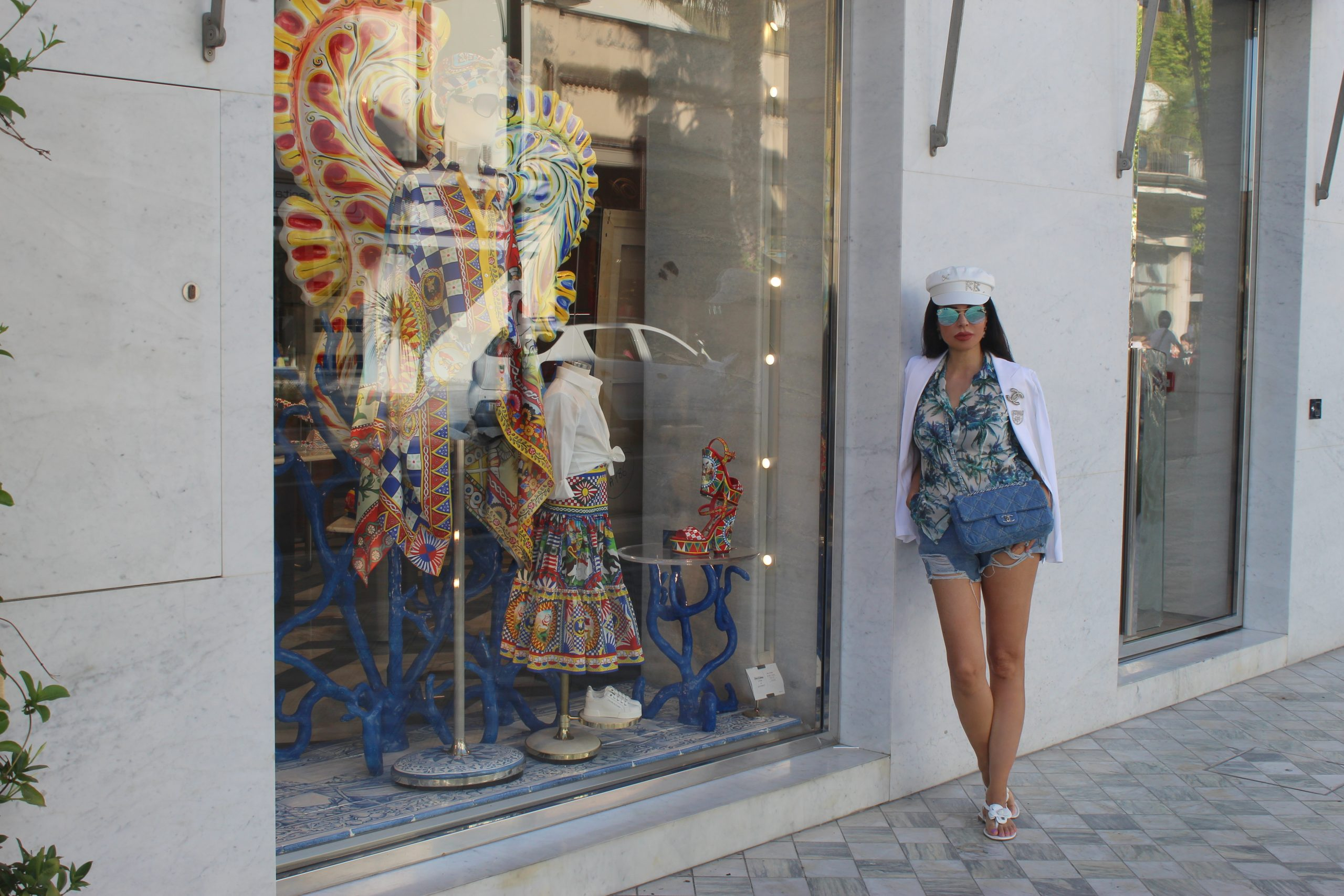 Forte dei Marmi Italian Summer Lookbook Bike Trend Blue and White Chanel Details Paola Lauretano