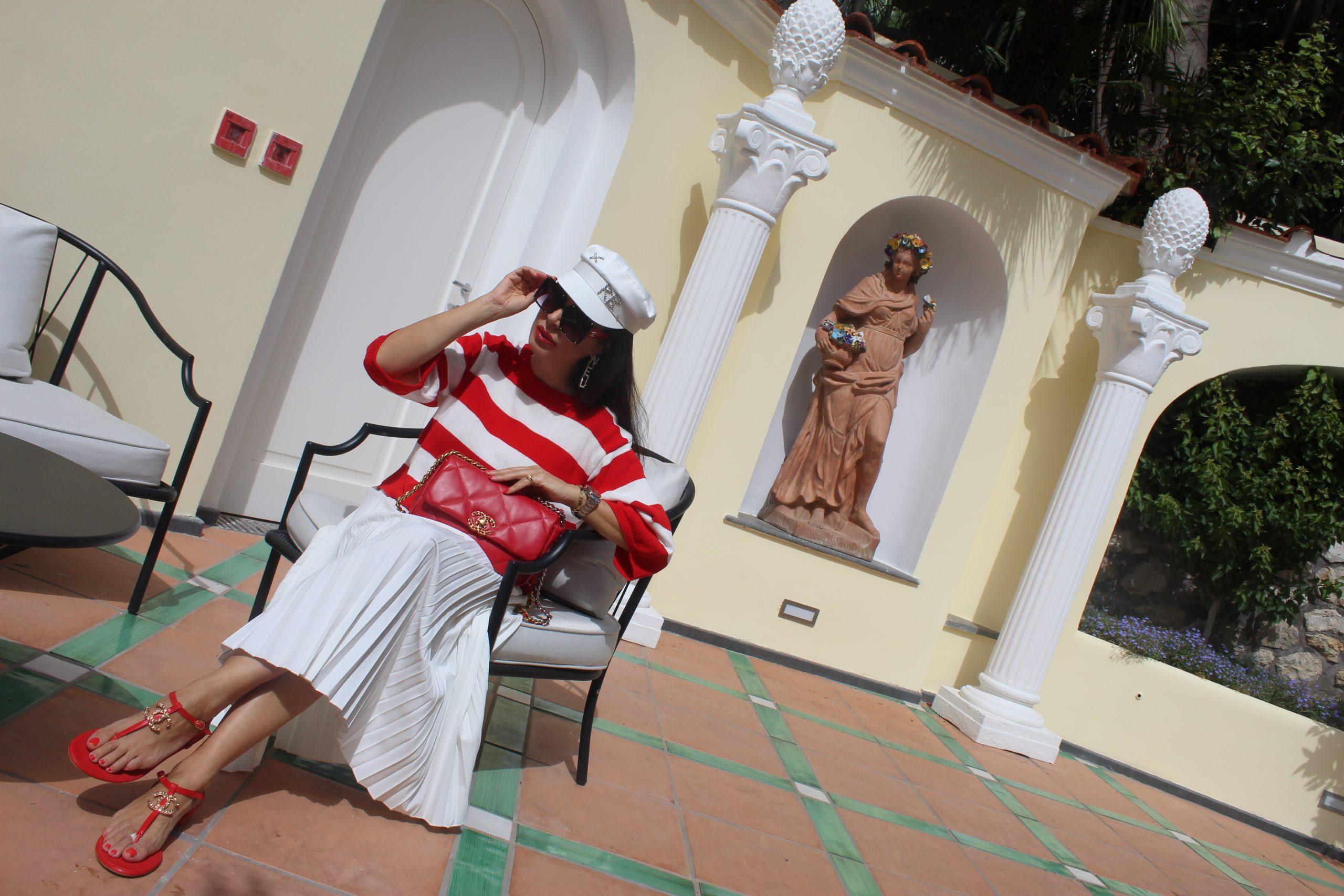 Capri Island Summer Italian Vacation Navy Look White and Red Trend Chanel Paola Lauretano