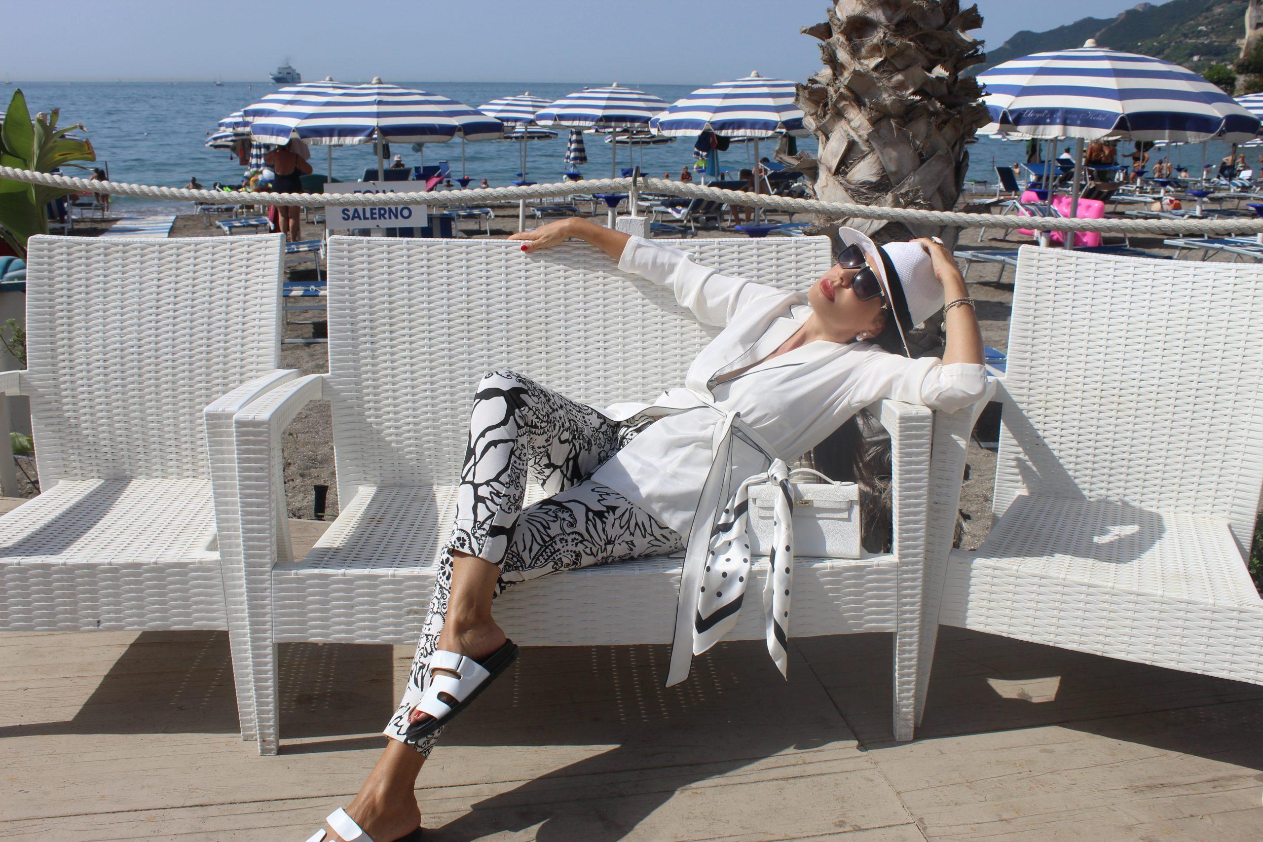 Summer Italian Staycation White Silk Outfit Beachwear LilySilk Look Hermes Details