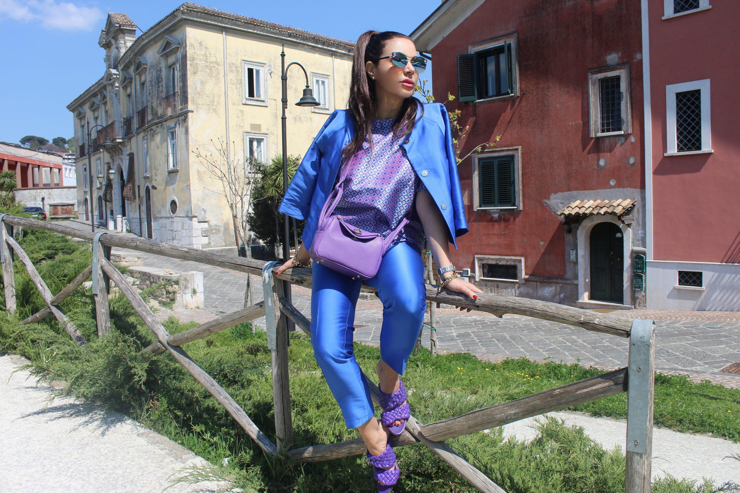 Fall Trend 2021 Vibrant Color combination PINKO blazer and trousers ODI ET AMO blouse  HERMES bag  BOTTEGA VENETA sandals Paola Lauretano