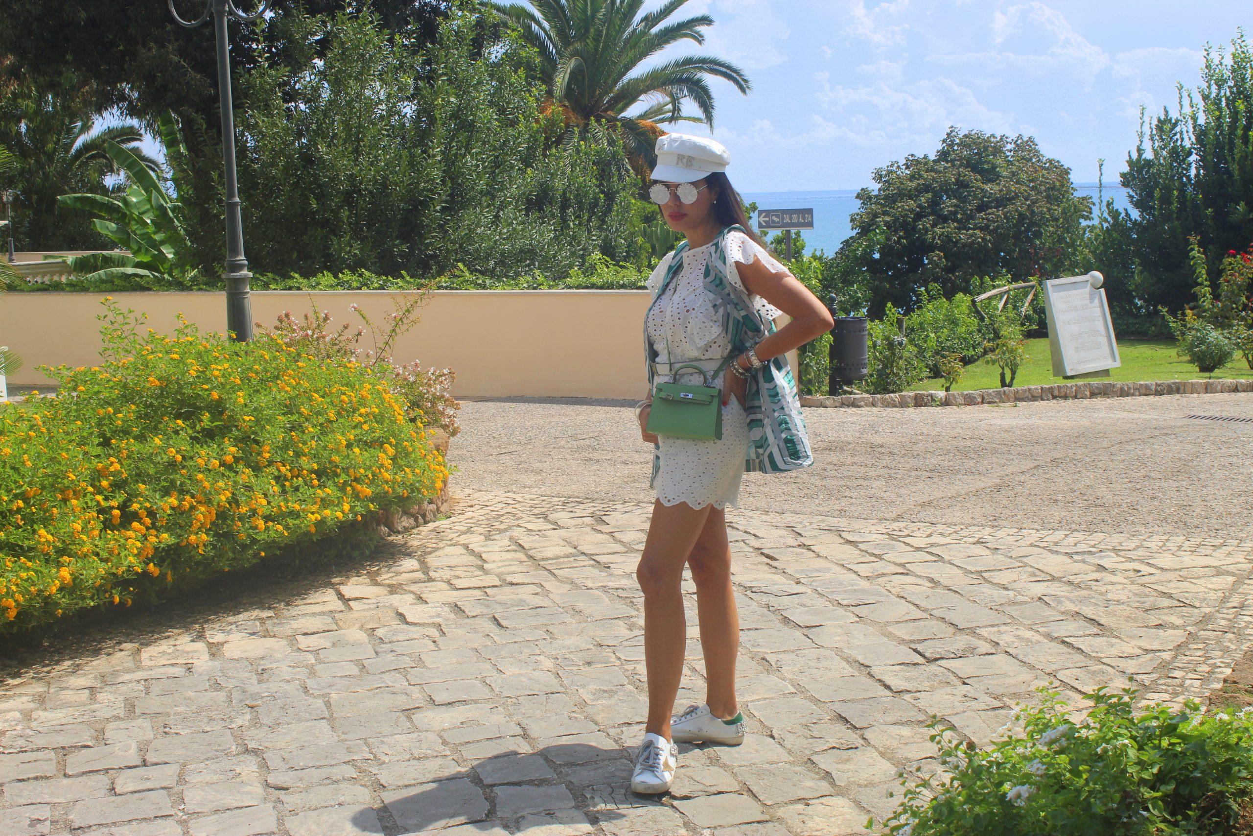 Travel in Italy Visit Gaeta Summer Vacation Cozy Lookbook JIJIL gilet e tuta  RUSLAN Paola Lauretano BAGINSKIY cappello  HERMES borsa  GOLDEN GOOSE sneakers