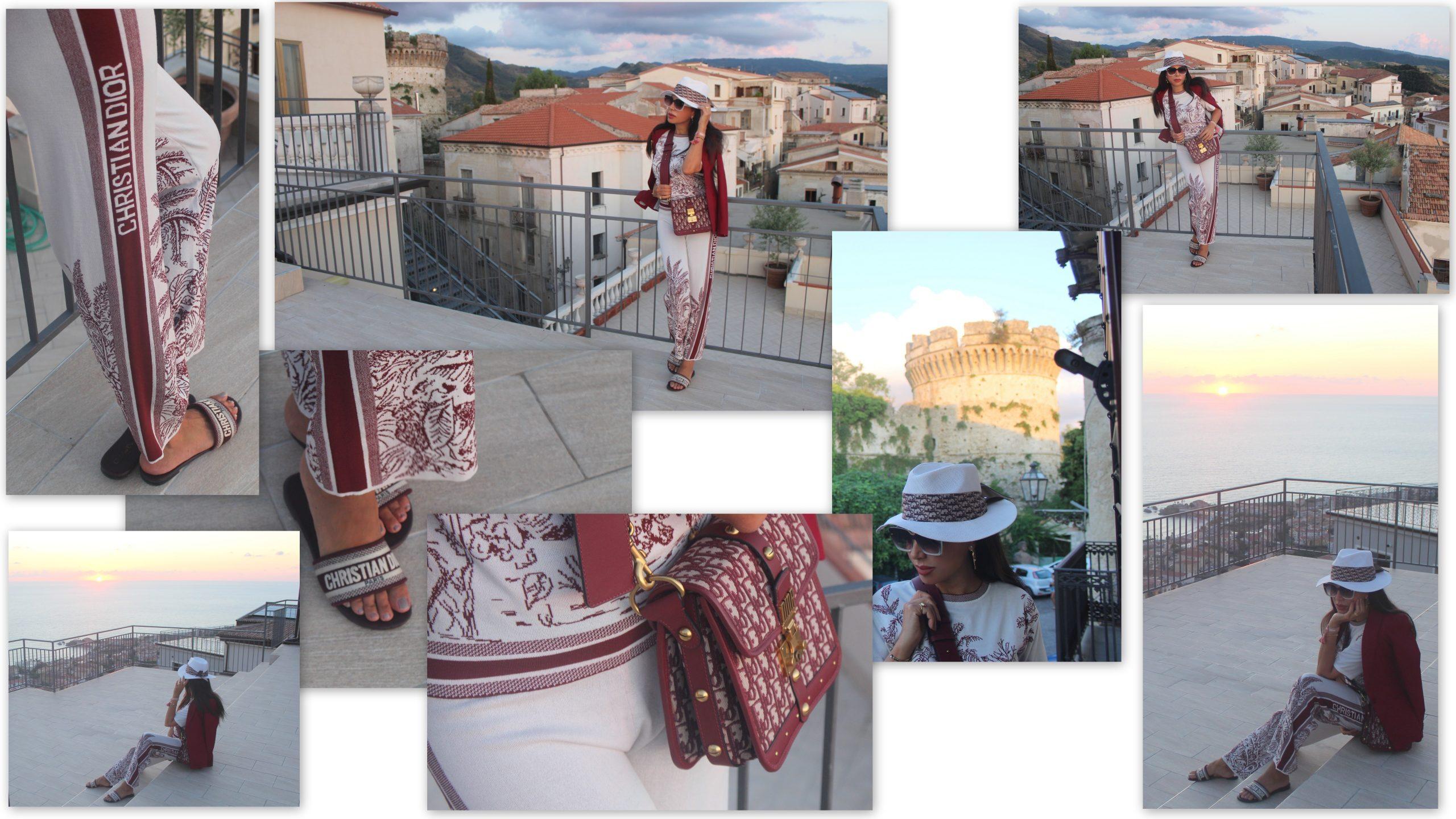 Fall 2021 Trend Burgundy and White Look Christian Dior Total Look Italian Weekend Gateaway Paola Lauretano